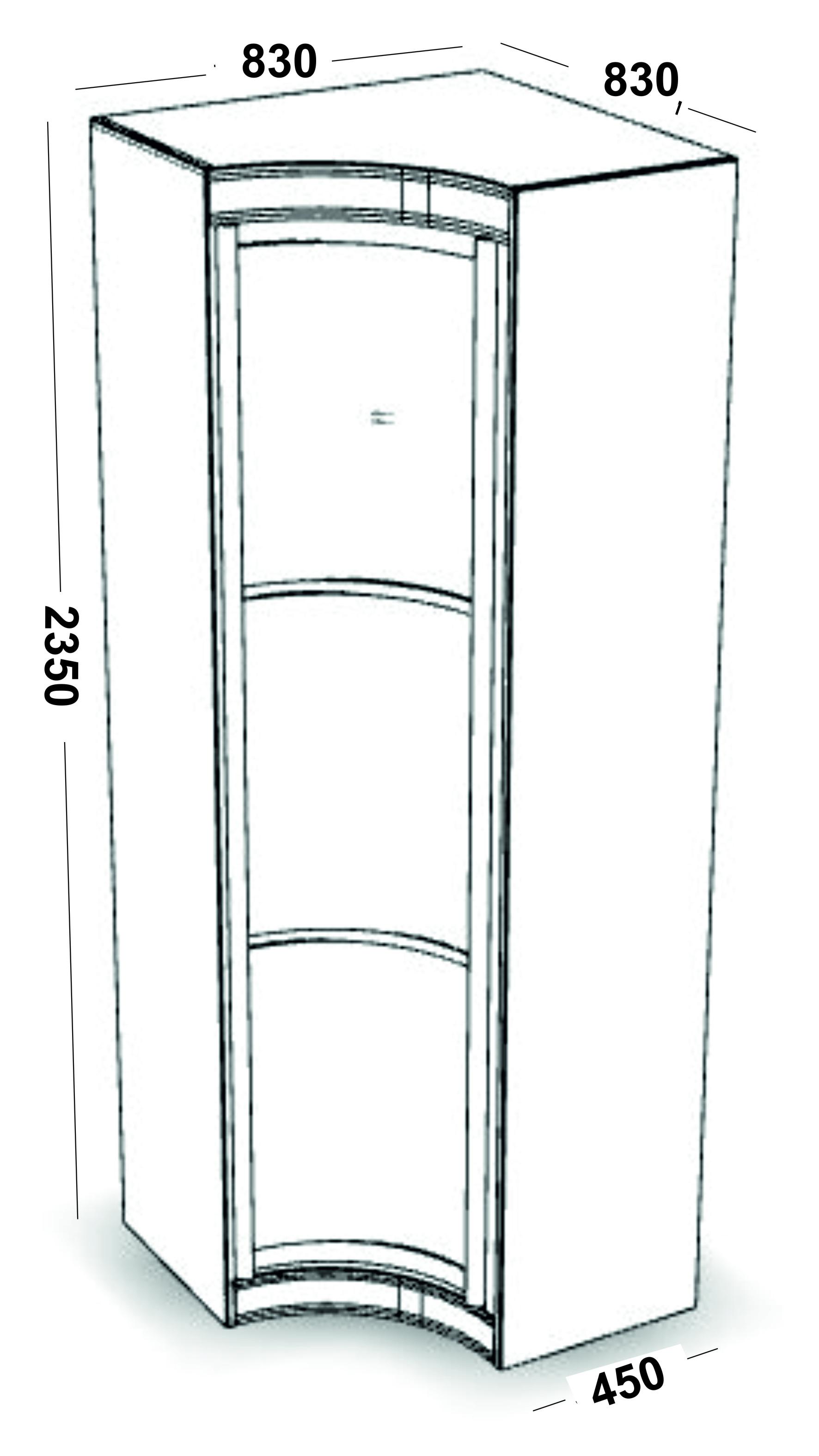 Радиусные шкафы купе (каталог цен) - распашной угловой модул.
